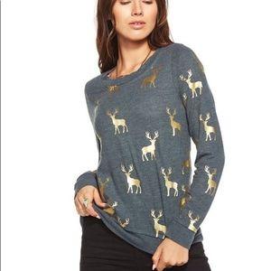 Chaser Gold Foil Deer Buck Sweatshirt Large
